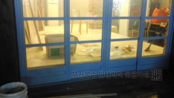 부산목수 인테리어 목공카페 온천장역 식당 마루깔기 마감