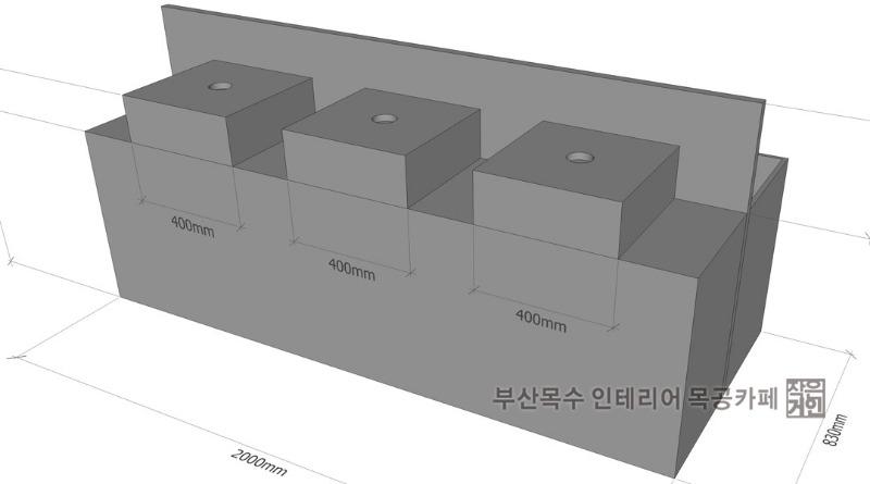 부산목수 작은거인의 부산 구덕운동장의 아이파크 축구단 팬샵 목공작업 조립