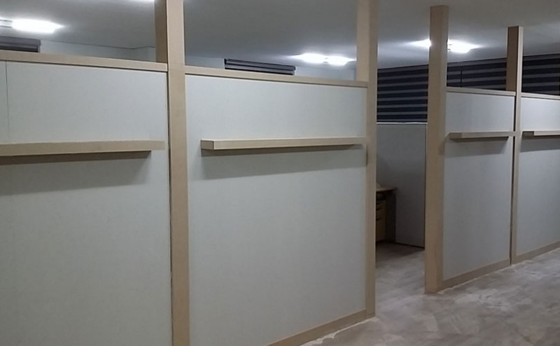 부산인테리어목수 사무실목공작업 해운대파티션