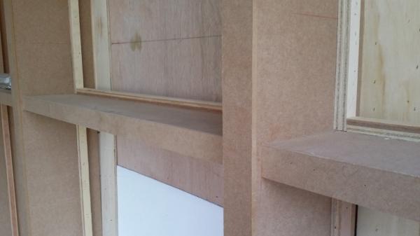 부산 센텀시티의 사무실 인테리어 목공작업 (벽면진열장.인테리어필름시공,LED모듈시공,백라이트시공)